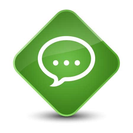 diamond: Talk icon isolated on elegant soft green diamond button abstract illustration Stock Photo