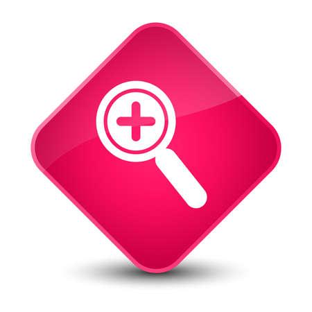diamond: Zoom in icon isolated on elegant pink diamond button abstract illustration