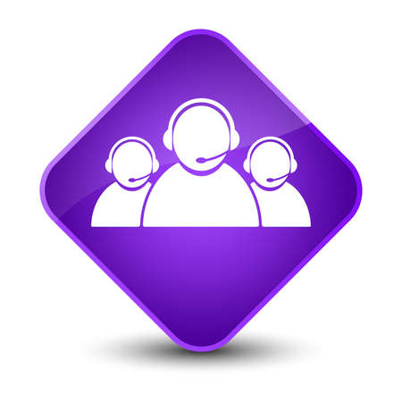 representative: Customer care team icon isolated on elegant purple diamond button abstract illustration