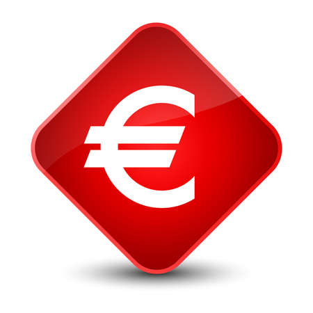 Euro sign icon isolated on elegant red diamond button abstract illustration