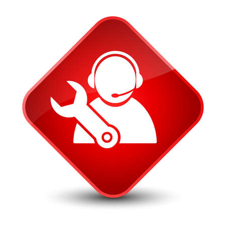 customer: Tech support icon isolated on elegant red diamond button abstract illustration