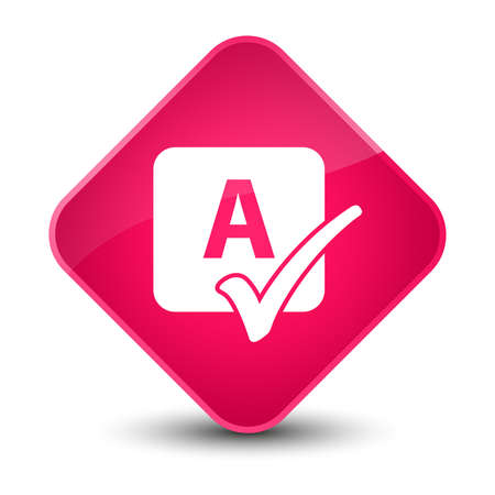 Spell check icon isolated on elegant pink diamond button abstract illustration Stock Photo