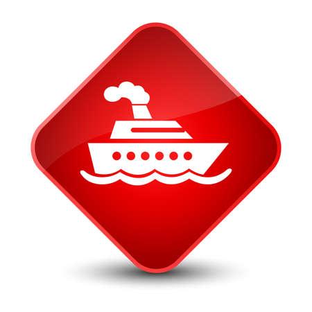 diamond: Cruise ship icon isolated on elegant red diamond button abstract illustration