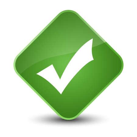 Validation icon isolated on elegant soft green diamond button abstract illustration