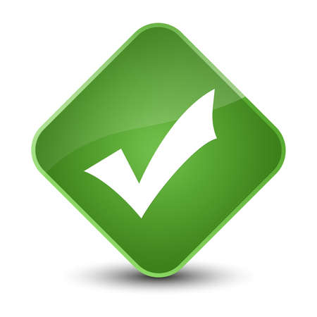 valid: Validation icon isolated on elegant soft green diamond button abstract illustration