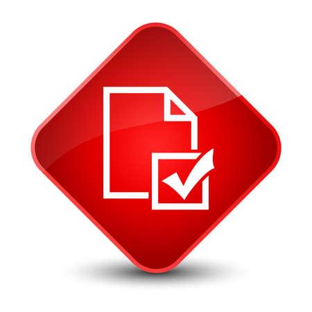 Survey icon isolated on elegant red diamond button abstract illustration Stock Photo