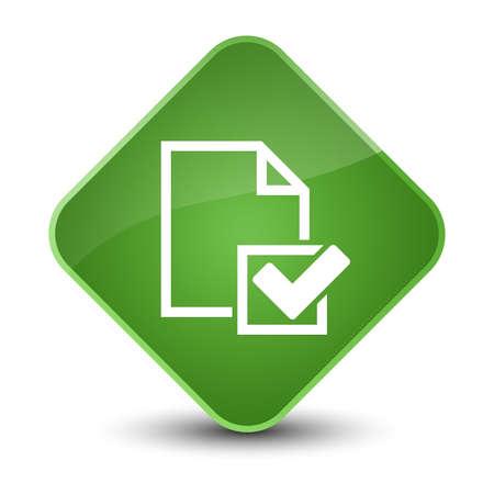 diamond: Checklist icon isolated on elegant soft green diamond button abstract illustration Stock Photo