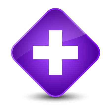 diamond: Plus icon isolated on elegant purple diamond button abstract illustration