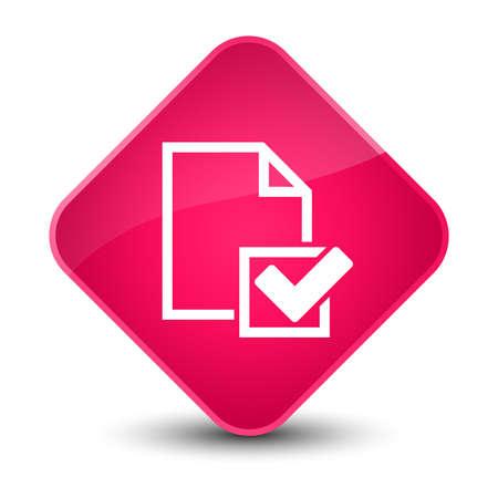 checklist: Checklist icon isolated on elegant pink diamond button abstract illustration Stock Photo