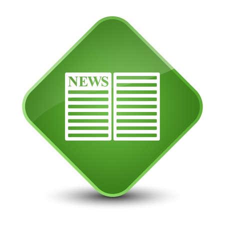 bulletin: Newspaper icon isolated on elegant soft green diamond button abstract illustration Stock Photo