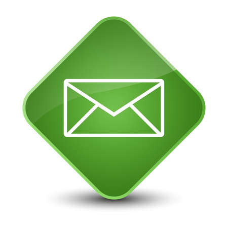 envelope: Email icon isolated on elegant soft green diamond button abstract illustration Stock Photo