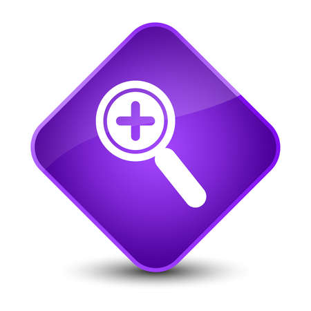 large: Zoom in icon isolated on elegant purple diamond button abstract illustration