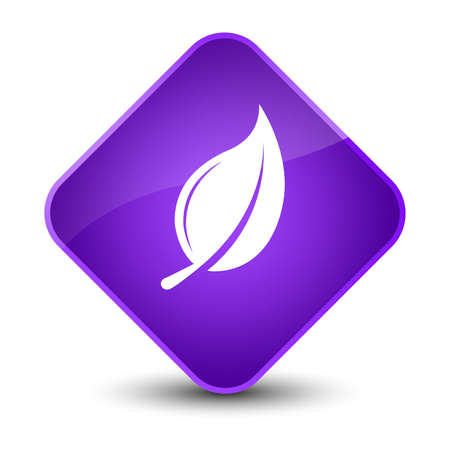 leaf: Leaf icon isolated on elegant purple diamond button abstract illustration