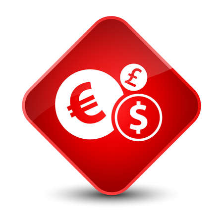 Finances icon isolated on elegant red diamond button abstract illustration