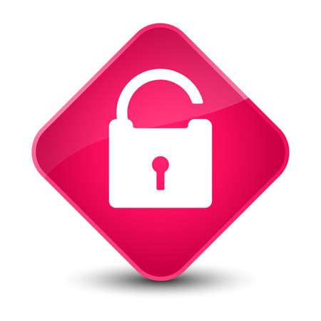 safety: Unlock icon isolated on elegant pink diamond button abstract illustration