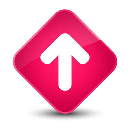 diamond: Upload arrow icon isolated on elegant pink diamond button abstract illustration