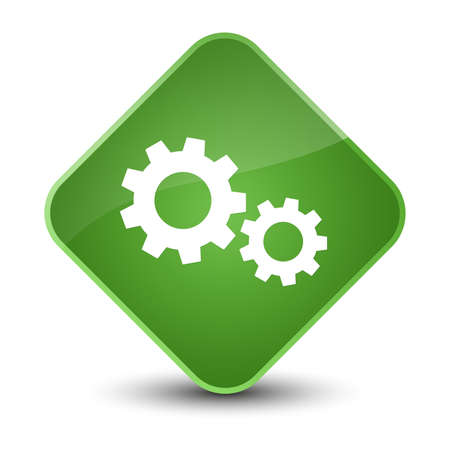 cogwheel: Process icon isolated on elegant soft green diamond button abstract illustration