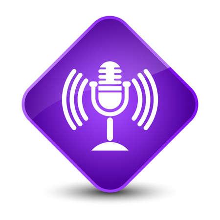 diamond: Mic icon isolated on elegant purple diamond button abstract illustration