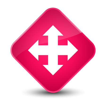 Move icon isolated on elegant pink diamond button abstract illustration