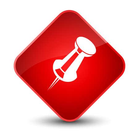 Icône de punaise isolée sur illustration abstraite élégante bouton rouge diamant