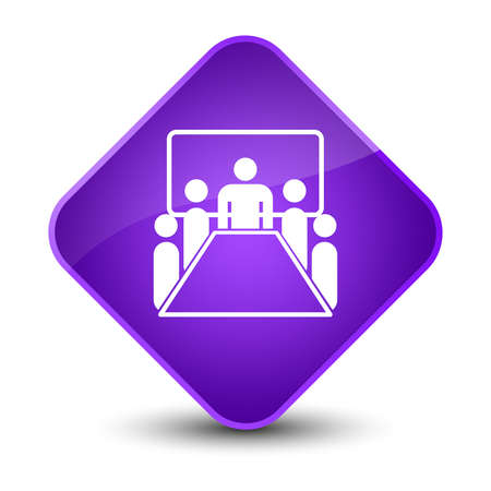 office desk: Meeting room icon isolated on elegant purple diamond button abstract illustration