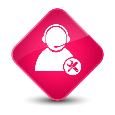 customer support: Tech support icon isolated on elegant pink diamond button abstract illustration