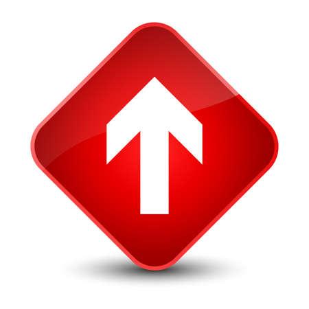 Upload arrow icon isolated on elegant red diamond button abstract illustration
