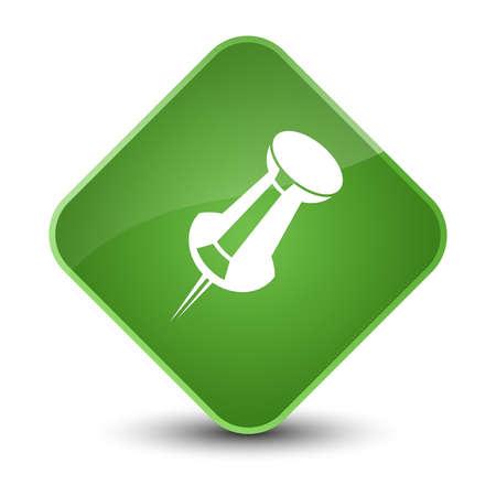 Pousser l'icône de la broche isolé sur l'illustration abstraite élégante élégante diamant bouton vert