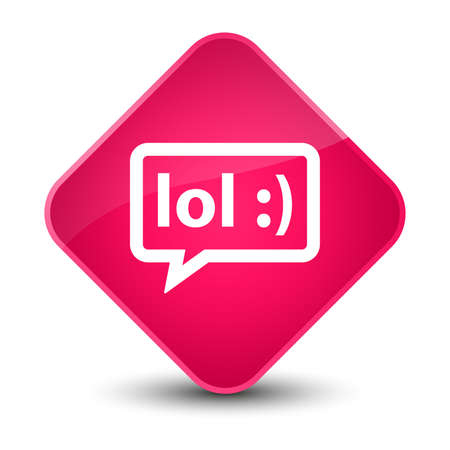 laughing out loud: LOL bubble icon isolated on elegant pink diamond button abstract illustration