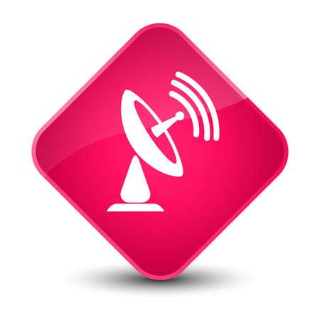 diamond: Satellite dish icon isolated on elegant pink diamond button abstract illustration