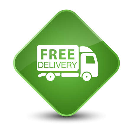 diamond: Free delivery truck icon isolated on elegant soft green diamond button abstract illustration