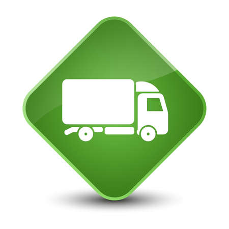 lorries: Truck icon isolated on elegant soft green diamond button abstract illustration