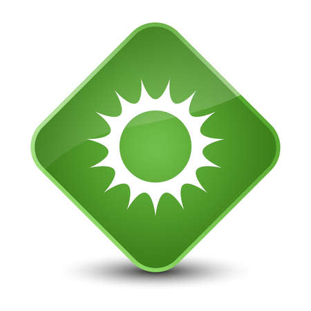 Sun icon isolated on elegant soft green diamond button abstract illustration Stock Photo