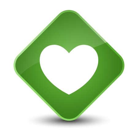 diamond: Heart icon isolated on elegant soft green diamond button abstract illustration Stock Photo