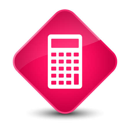 compute: Calculator icon isolated on elegant pink diamond button abstract illustration