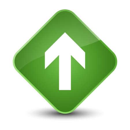 Upload arrow icon isolated on elegant soft green diamond button abstract illustration Stock Photo