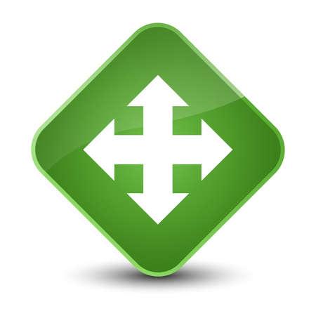 Move icon isolated on elegant soft green diamond button abstract illustration Stock Photo