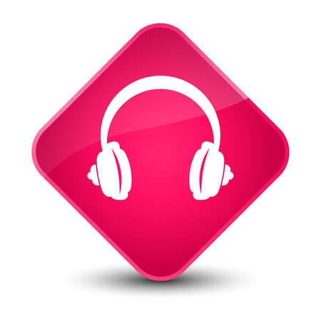 earphone: Headphone icon isolated on elegant pink diamond button abstract illustration