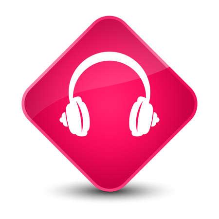 Headphone icon isolated on elegant pink diamond button abstract illustration