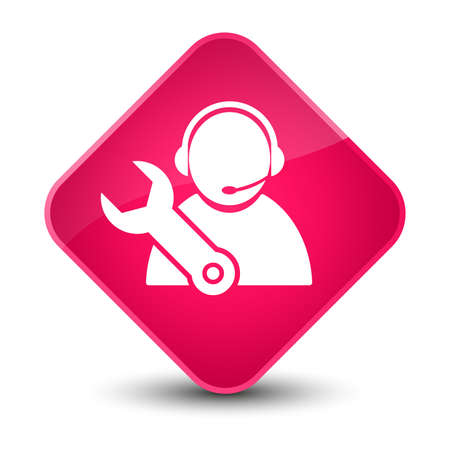 Tech support icon isolated on elegant pink diamond button abstract illustration