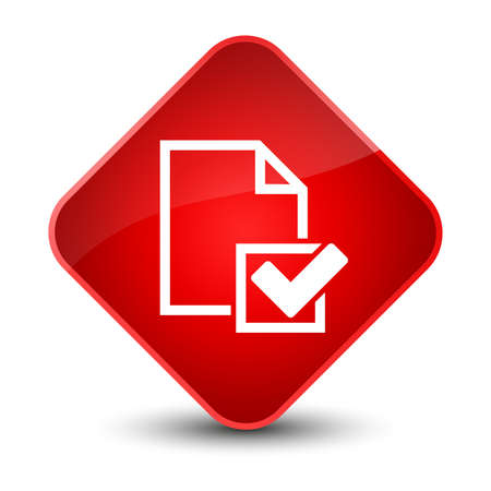 validate: Checklist icon isolated on elegant red diamond button abstract illustration