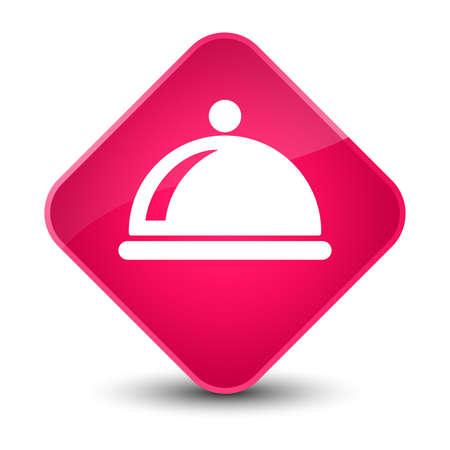 cover: Food dish icon isolated on elegant pink diamond button abstract illustration Stock Photo