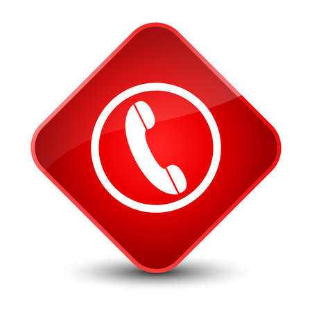 phone: Phone icon isolated on elegant red diamond button abstract illustration Stock Photo