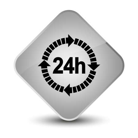 24 hours delivery icon isolated on elegant white diamond button abstract illustration