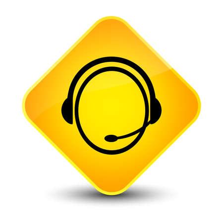 Customer care service icon isolated on elegant yellow diamond button abstract illustration