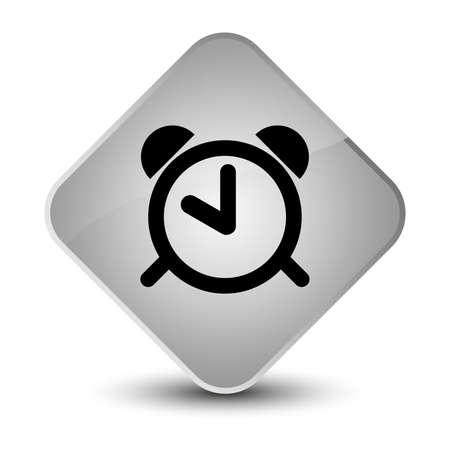 diamond: Alarm clock icon isolated on elegant white diamond button abstract illustration Stock Photo