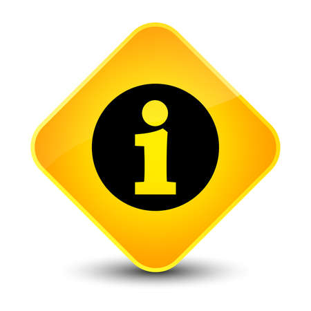 about: Info icon isolated on elegant yellow diamond button abstract illustration Stock Photo