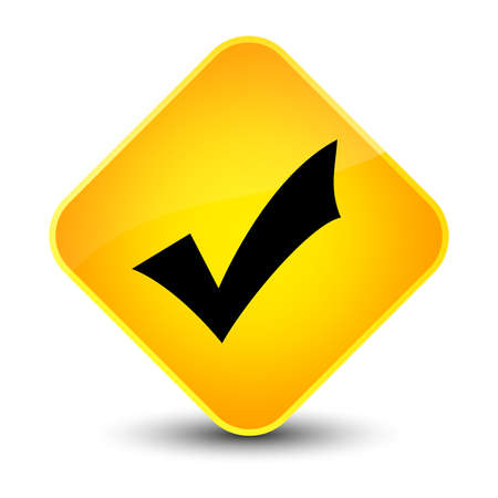 Validation icon isolated on elegant yellow diamond button abstract illustration