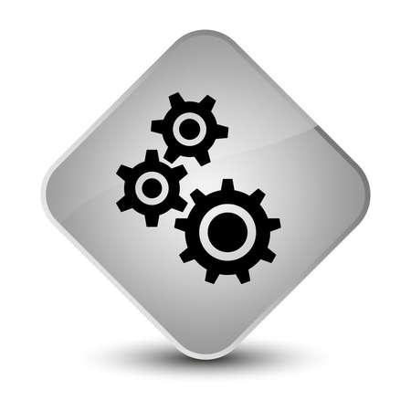 Gears icon isolated on elegant white diamond button abstract illustration Stock Photo