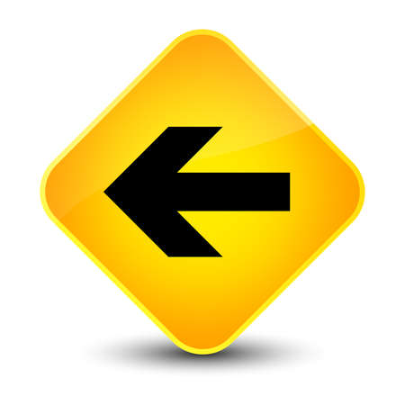 Back arrow icon isolated on elegant yellow diamond button abstract illustration